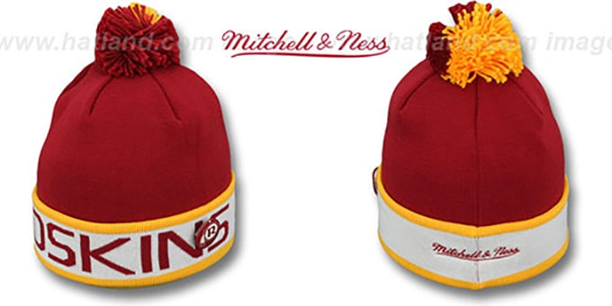 Redskins 'THE-BUTTON' Knit Beanie Hat by Michell and Ness : pictured without stickers that these products are shipped with