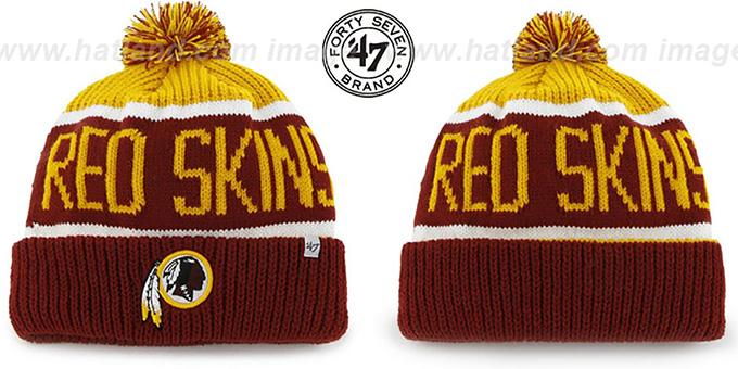 Redskins 'THE-CALGARY' Burgundy-Gold Knit Beanie Hat by Twins 47 Brand : pictured without stickers that these products are shipped with