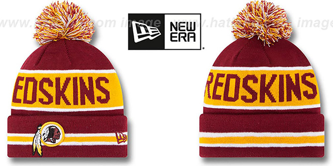 Redskins 'THE-COACH' Burgundy Knit Beanie Hat by New Era : pictured without stickers that these products are shipped with
