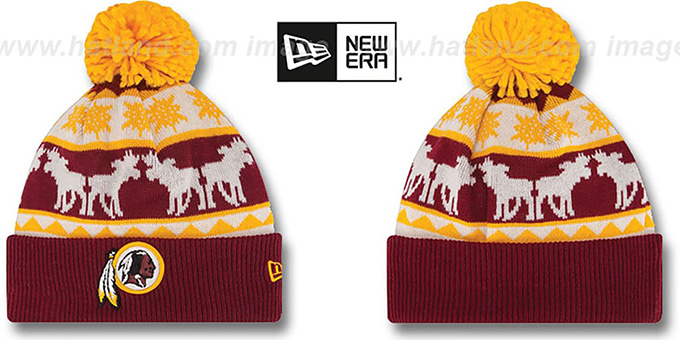 Redskins 'THE-MOOSER' Knit Beanie Hat by New Era : pictured without stickers that these products are shipped with