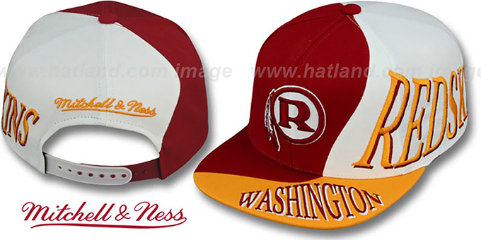 Redskins 'THE SKEW SNAPBACK' Hat by Mitchell & Ness : pictured without stickers that these products are shipped with