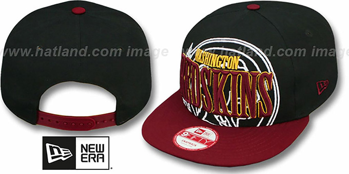 Redskins 'THROUGH SNAPBACK' Black-Burgundy Hat by New Era : pictured without stickers that these products are shipped with