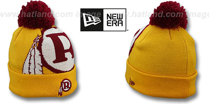 Redskins 'THROWBACK NFL-BIGGIE' Gold Knit Beanie Hat by New Era : pictured without stickers that these products are shipped with