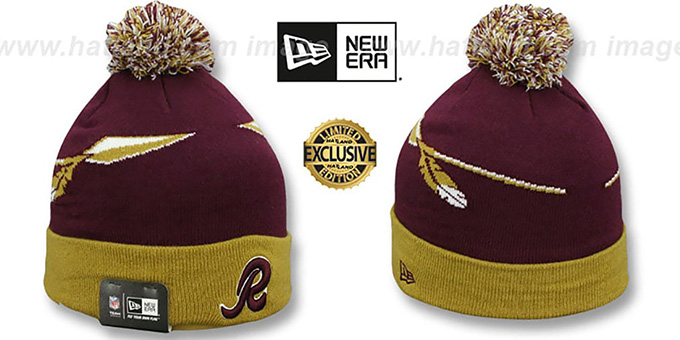 Redskins 'THROWBACK SPEARS' Maroon-Gold Knit Beanie Hat by New Era : pictured without stickers that these products are shipped with