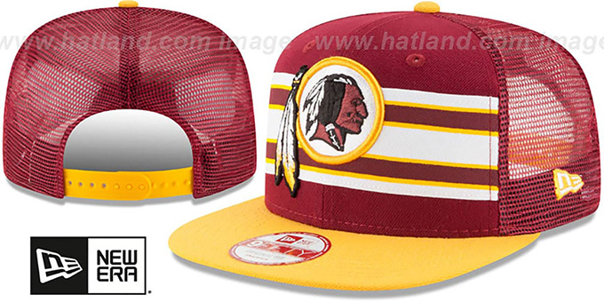 Redskins 'THROWBACK-STRIPE SNAPBACK' Burgundy-Gold Hat by New Era : pictured without stickers that these products are shipped with