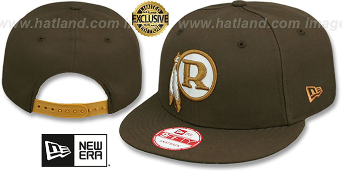Redskins 'THROWBACK TEAM-BASIC SNAPBACK' Brown-Wheat Hat by New Era : pictured without stickers that these products are shipped with