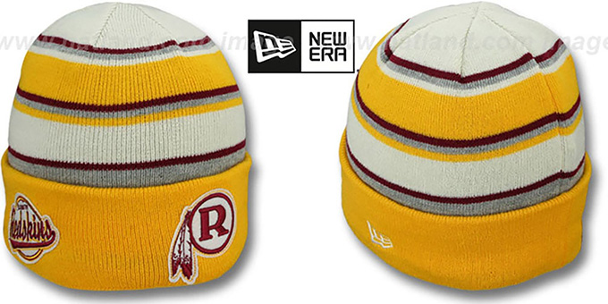 Redskins THROWBACK 'WINTER TRADITION' Knit Beanie Hat by New Era : pictured without stickers that these products are shipped with