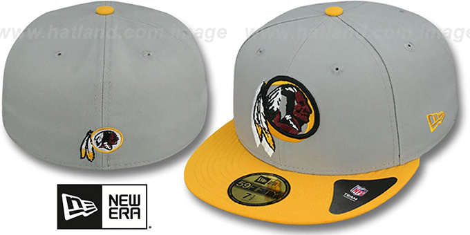Redskins 'TRACE-POP' Grey-Gold Fitted Hat by New Era : pictured without stickers that these products are shipped with