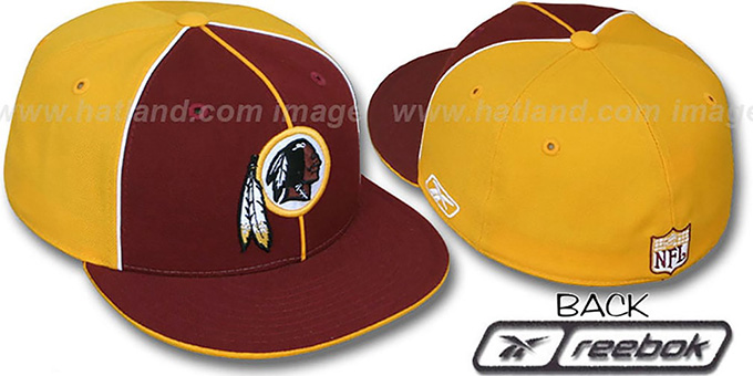 Redskins 'TRI PIPING PINWHEEL' Burgundy Gold Fitted Hat by Reebok : pictured without stickers that these products are shipped with