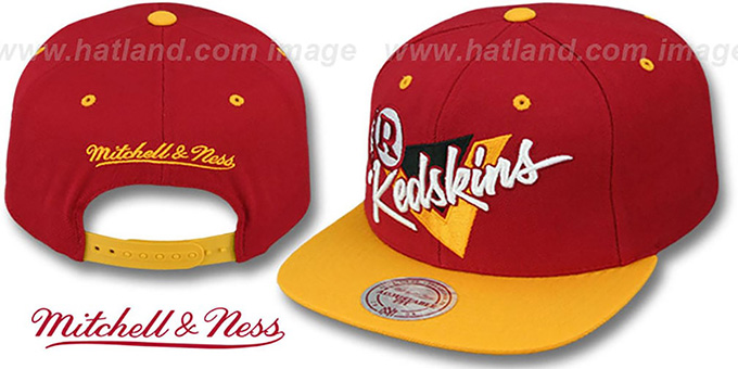 Redskins 'TRIANGLE-SCRIPT SNAPBACK' Burgundy-Gold Hat by Mitchell and Ness : pictured without stickers that these products are shipped with