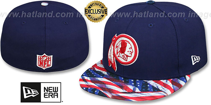 Redskins 'USA WAVING-FLAG' Navy Fitted Hat by New Era : pictured without stickers that these products are shipped with