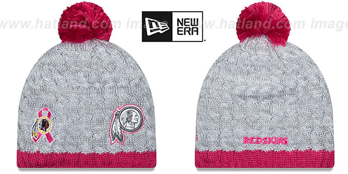 Redskins 'WOMENS 2015 BCA' Knit Beanie Hat by New Era : pictured without stickers that these products are shipped with