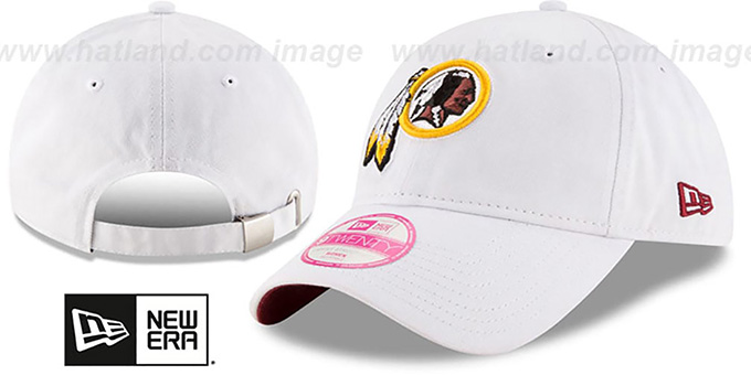 Redskins 'WOMENS PREFERRED PICK STRAPBACK' White Hat by New Era : pictured without stickers that these products are shipped with