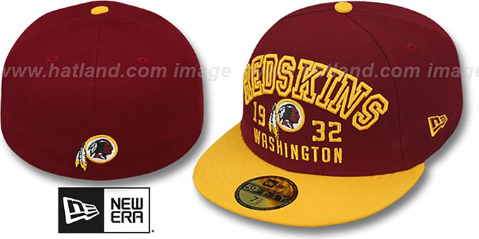 Redskins 'WORD-KNOCK' Burgundy-Gold Fitted Hat by New Era : pictured without stickers that these products are shipped with