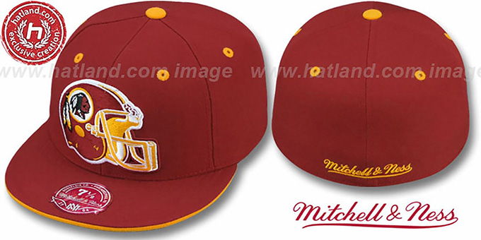Redskins 'XL-HELMET' Burgundy Fitted Hat by Mitchell & Ness : pictured without stickers that these products are shipped with