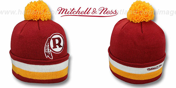 Redskins 'XL-LOGO ALTERNATE BEANIE' Burgundy by Mitchell and Ness : pictured without stickers that these products are shipped with