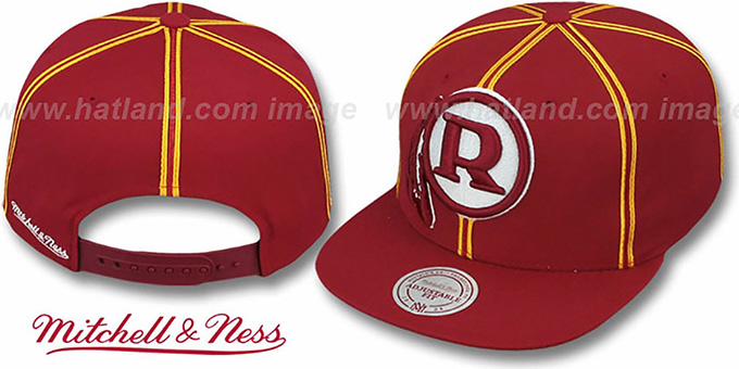 Redskins 'XL-LOGO SOUTACHE SNAPBACK' Burgundy Adjustable Hat by Mitchell and Ness : pictured without stickers that these products are shipped with