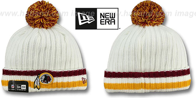 Redskins 'YESTER-YEAR' Knit Beanie Hat by New Era : pictured without stickers that these products are shipped with