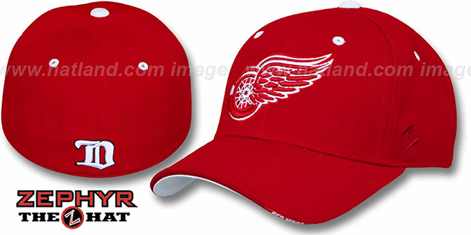 Redwings 'FACE-OFF' Red Fitted Hat by Zephyr : pictured without stickers that these products are shipped with