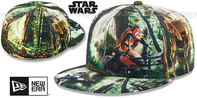 Return of the Jedi 'ALL-OVER BATTLE' Fitted Hat by New Era : pictured without stickers that these products are shipped with