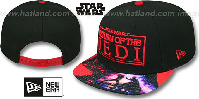 Return of the Jedi 'VIZA-PRINT SNAPBACK' Black Hat by New Era : pictured without stickers that these products are shipped with