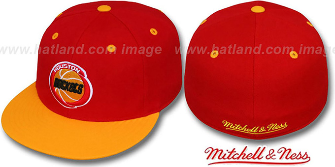 Rockets '2T CLASSIC THROWBACK' Red-Gold Fitted Hat by Mitchell & Ness : pictured without stickers that these products are shipped with