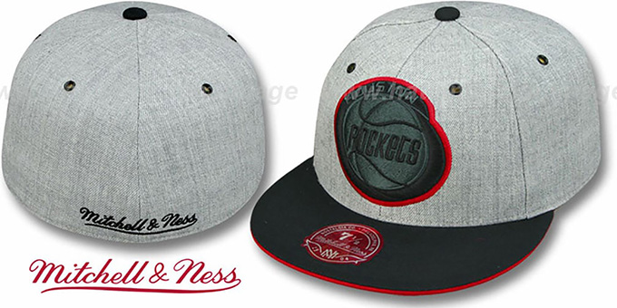 Rockets '2T XL-LOGO FADEOUT' Grey-Black Fitted Hat by Mitchell & Ness : pictured without stickers that these products are shipped with
