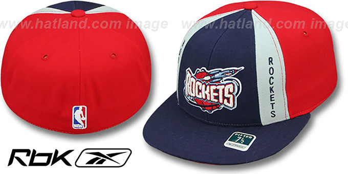 Rockets 'AJD THROWBACK PINWHEEL' Navy-Red Fitted Hat by Reebok : pictured without stickers that these products are shipped with