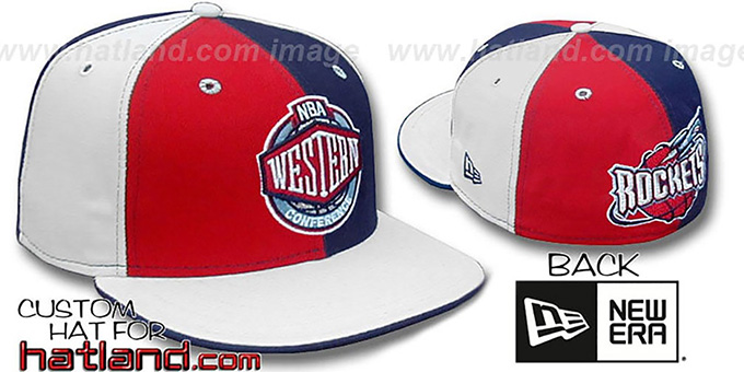 Rockets CONFERENCE 'PINWHEEL' Red-Navy-White Fitted Hat : pictured without stickers that these products are shipped with