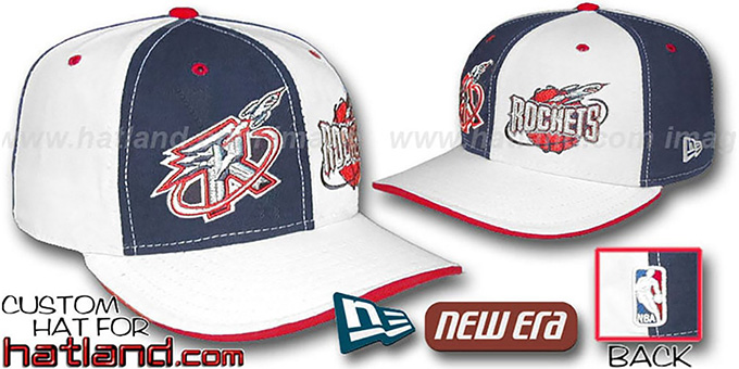 Rockets 'DOUBLE WHAMMY' Navy-White Fitted Hat : pictured without stickers that these products are shipped with