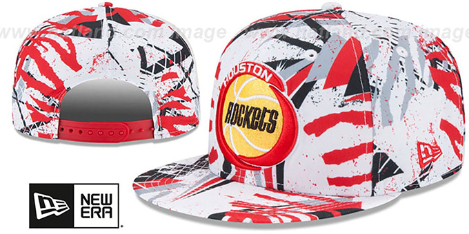 Rockets 'GEOMET TRICK SNAPBACK' Hat by New Era : pictured without stickers that these products are shipped with