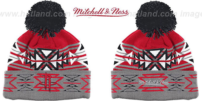 Rockets 'GEOTECH' Knit Beanie by Mitchell and Ness : pictured without stickers that these products are shipped with