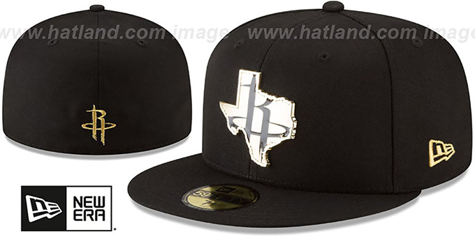7836d0f1d324a8 Rockets 'GOLD STATED METAL-BADGE' Black Fitted Hat by ...