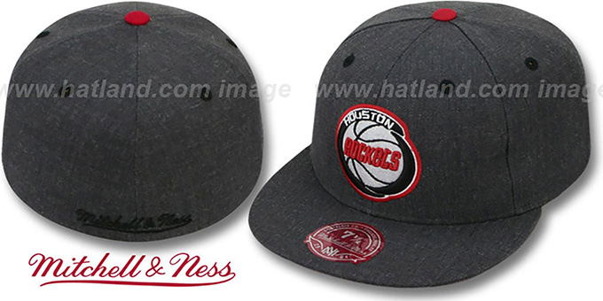 Rockets 'GREY HEDGEHOG' Fitted Hat by Mitchell and Ness : pictured without stickers that these products are shipped with