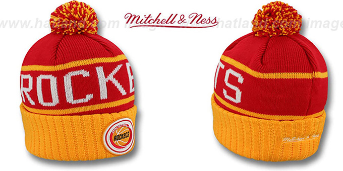 Rockets 'HIGH-5 CIRCLE BEANIE' Red-Gold by Mitchell and Ness : pictured without stickers that these products are shipped with