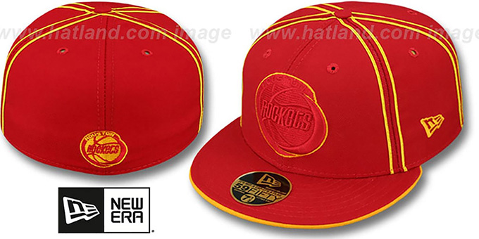 Rockets 'HWC CHALKLINE' Red-Red Fitted Hat by New Era : pictured without stickers that these products are shipped with