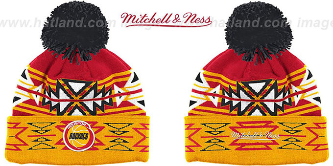 Rockets HWC 'GEOTECH' Knit Beanie by Mitchell and Ness : pictured without stickers that these products are shipped with
