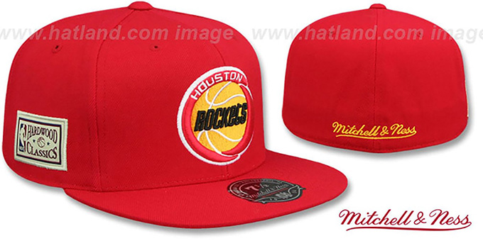 Rockets 'HWC SIDE-PATCH' Red Fitted Hat by Mitchell and Ness