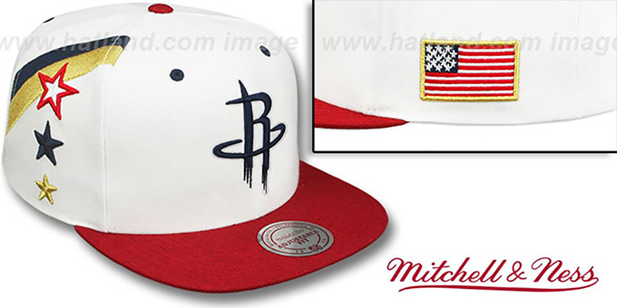 Rockets 'INDEPENDENCE SNAPBACK' Hat by Mitchell and Ness : pictured without stickers that these products are shipped with