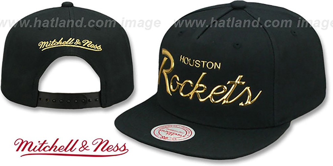 Rockets 'LIQUID METALLIC SCRIPT SNAPBACK' Black-Gold Hat by Mitchell and Ness