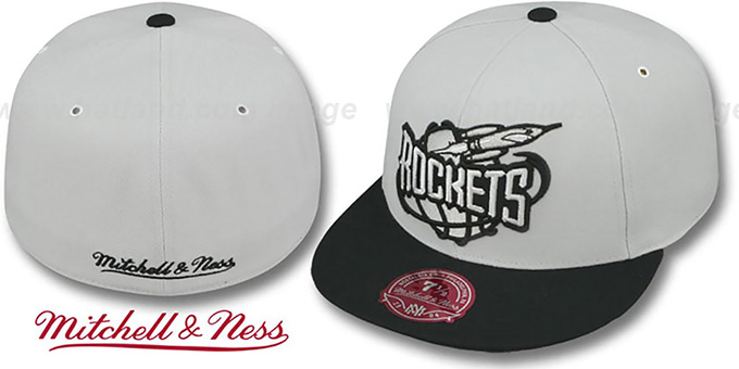 Rockets 'MONOCHROME XL-LOGO' Grey-Black Fitted Hat by Mitchell & Ness : pictured without stickers that these products are shipped with