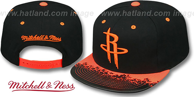 Rockets 'NEON-LAVA SNAPBACK' Black-Orange Hat by Mitchell and Ness : pictured without stickers that these products are shipped with