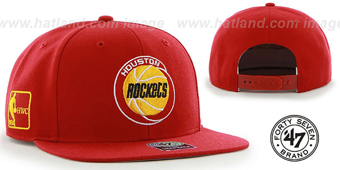 Rockets 'SURE-SHOT SNAPBACK' Red Hat by Twins 47 Brand : pictured without stickers that these products are shipped with