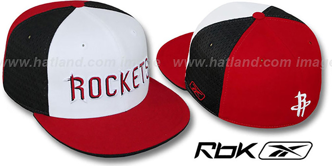 Rockets 'SWINGMAN' White-Black-Red Fitted Hat by Reebok : pictured without stickers that these products are shipped with