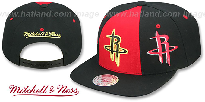 Rockets 'TRIPLE STACK SNAPBACK' Red-Black Hat by Mitchell and Ness