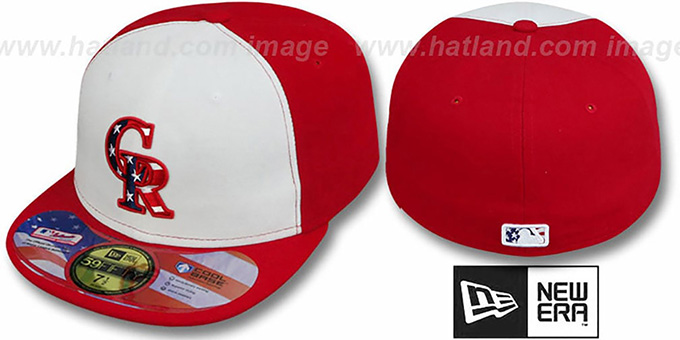 Rockies '2011 STARS N STRIPES' White-Red Hat by New Era : pictured without stickers that these products are shipped with