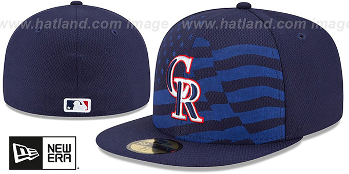 Rockies '2015 JULY 4TH STARS N STRIPES' Hat by New Era : pictured without stickers that these products are shipped with
