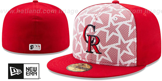 Rockies '2016 JULY 4TH STARS N STRIPES' Fitted Hat by New Era : pictured without stickers that these products are shipped with