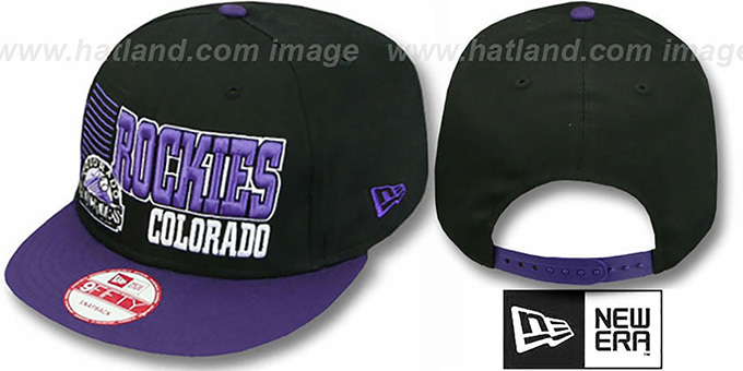 Rockies '2T BORDERLINE SNAPBACK' Black-Purple Hat by New Era : pictured without stickers that these products are shipped with
