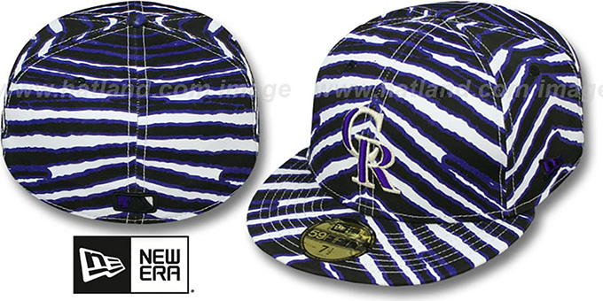 Rockies 'ALL-OVER ZUBAZ' Fitted Hat by New Era : pictured without stickers that these products are shipped with